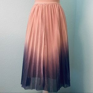 Accordion-pleated Chiffon Skirt, Dusty Pink Ombre